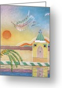 Symbolic Pastels Greeting Cards - Dove Temple and Sun Greeting Card by Sally Appleby