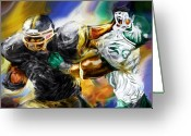Football Painting Greeting Cards - Downtown Express Greeting Card by Mike Massengale