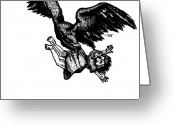 Eagle Drawings Greeting Cards - Eagle Carrying Little Girl Greeting Card by Karl Addison