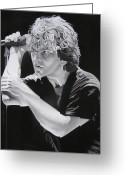Pearl Jam Greeting Cards - Eddie Vedder Black and White Greeting Card by Joshua Morton