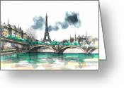 Eiffel Tower Greeting Cards - Eiffel Tower Greeting Card by Seventh Son