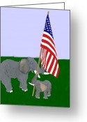 Usa Flag Pastels Greeting Cards - Elephants and Flag Greeting Card by Pharris Art