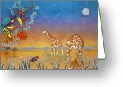 Fantasy Bird Pastels Greeting Cards - Evening Giraffs Greeting Card by Sally Appleby