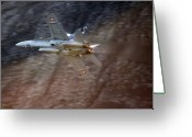 Superhornet Greeting Cards - F 18 Hornet Greeting Card by Angel  Tarantella