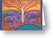 Warm Painting Greeting Cards - Family Tree Greeting Card by Mary Anne Nagy