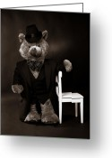 Teddybear Greeting Cards - Fancy Bear Greeting Card by Lisbet Svensson Schau