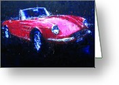 Enzo Ferrari Greeting Cards - Ferrari 330GTS Greeting Card by John D Lawson