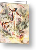 Fire Dance Painting Greeting Cards - Fire Dance Greeting Card by Connie Williams