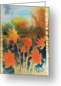 Bright Drawings Greeting Cards - Fire Storm In The Wild Flower Meadow Greeting Card by Amy Bernays