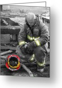 Dana Oliver Greeting Cards - Firefighter Greeting Card by Dana  Oliver
