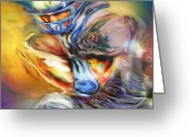 Running Back Greeting Cards - First and Ten Greeting Card by Mike Massengale