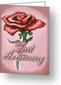 Anniversary Greeting Cards - First Anniversary Greeting Card by Kevin Middleton