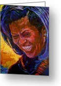 Presidential Portrait Greeting Cards - First Lady Michele Obama Greeting Card by David Lloyd Glover
