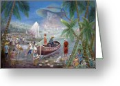 Haitian Greeting Cards - Fishing Village Greeting Card by Emmanuel Dostaly