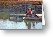 Old Man Fishing Greeting Cards - Fishing with Friends Greeting Card by Suzanne Gaff