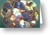 Flower Curves Greeting Cards - Flower Globe Greeting Card by Deborah Benoit