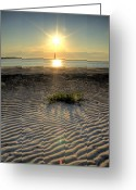Lighthouse Greeting Cards - Folly Beach First Light over the Morris Island Lighthouse Greeting Card by Dustin K Ryan