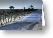 Folly Beach Lighthouse Greeting Cards - Folly Beach Pier Greeting Card by Dustin K Ryan