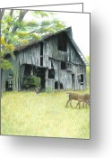 Landscape Drawings Greeting Cards - Forgotten Greeting Card by Carla Kurt