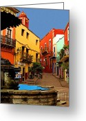 Darian Day Greeting Cards - Fountain Plaza Greeting Card by Olden Mexico