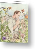Assisi Greeting Cards - Francis of Assisi with the Animals Greeting Card by Morgan Fitzsimons