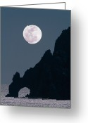 Moonrise Greeting Cards - Full moon rising over coastal cliff Greeting Card by David Nunuk