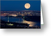 Moonrise Photo Greeting Cards - Full moonrise over Vancouver 6 Greeting Card by David Nunuk