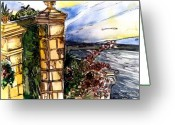 Sea Flowers Greeting Cards - Gate in Sorrento Greeting Card by Mindy Newman
