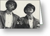 Tuxedo Greeting Cards - Gents Greeting Card by Amy S Turner
