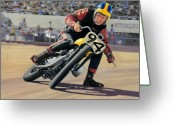 Motorcycle Racing Greeting Cards - George Roeder - 1965 Greeting Card by James Robertson