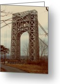 Gw Bridge Greeting Cards - George Washington Bridge Greeting Card by Nancie Johnson