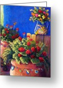 Mexican Pastels Greeting Cards - Geraniums and Talavera Greeting Card by Candy Mayer