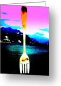 Funkpix Greeting Cards - Giant Fork in Lake Geneva Greeting Card by Funkpix Photo  Hunter