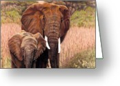Family Pastels Greeting Cards - Giants Of Kenya Greeting Card by Carol McCarty