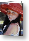 Portriat Greeting Cards - Girl With Red Hat Greeting Card by Takayuki Harada