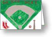 Bat Mixed Media Greeting Cards - Go Red Sox Greeting Card by Rosemary Mazzulla