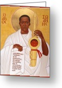 African Greeting Cards - God Breathes Through the Holy Horn of St. John Coltrane. Greeting Card by Mark Dukes