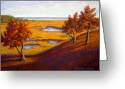 Ocean Landscape Pastels Greeting Cards - Golden Marsh Greeting Card by Tanja Ware