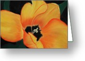 Tulips Pastels Greeting Cards - Golden Tulip Greeting Card by Anastasiya Malakhova