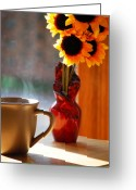 Sunshine Daisy Greeting Cards - Good Day Brewing Greeting Card by Peter  McIntosh