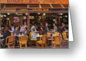 Street Scene Greeting Cards - Grand Bar Greeting Card by Guido Borelli