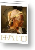 Portrait Poster Greeting Cards - grandma - the people of Haiti series poster Greeting Card by Bob Salo