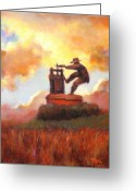 Contry Greeting Cards - Grape Crusher Sunset Cloud Napa Valley Greeting Card by Takayuki Harada