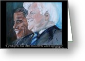 Barack Obama Mixed Media Greeting Cards - Great Spirits - Teddy and Barack Greeting Card by Valerie Wolf