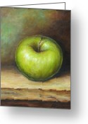 Green Painting Greeting Cards - Green Apple Greeting Card by Mirjana Gotovac