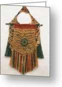 Textile Art Tapestries - Textiles Greeting Cards -        Accurate  Eye Greeting Card by Diana Corcan