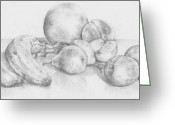 Grapefruit Drawings Greeting Cards -        Summer Fruit Greeting Card by Trudy Storace