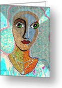Pensive Greeting Cards -   081 - Woman Turquoise  Greeting Card by Irmgard Schoendorf Welch
