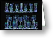 Luminescent Greeting Cards -  111 -  Blue Glasses   Greeting Card by Irmgard Schoendorf Welch