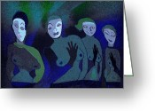 Glove Digital Art Greeting Cards -  155 - Blue Ladies -1- Greeting Card by Irmgard Schoendorf Welch